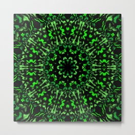 Green and Black Kaleidoscope 2 Metal Print