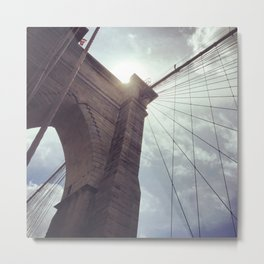 Dramatic Brooklyn Bridge New York Metal Print