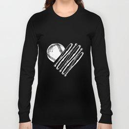 Baseball Bat Heart Softball Season Love Mom Coach Game Women's Raglan Baseball T-Shirts Long Sleeve T-shirt