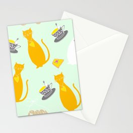 Cool Cats Coffee and Chessse party Artwork Stationery Cards