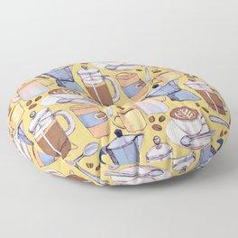 Coffee Love on Yellow Floor Pillow