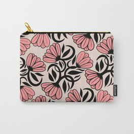 Modern Girly Mauve Pink Black Floral Illustrations Carry-All Pouch