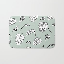 Swiss Cheese Plant Leaves Bath Mat