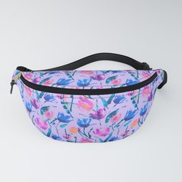 Tulip fever (floral seamless pattern in lilac, ultramarine, magenta, blue, orange colours) Fanny Pack