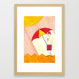 Day at the Beach in Linear Land Framed Art Print