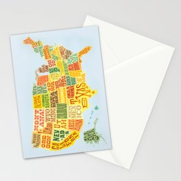 United States of America Map Stationery Cards