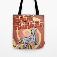 blade runner Tote Bags featuring Blade Runner   by Joe Badon