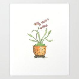 Orange Orchid Pot Watercolor Art Print
