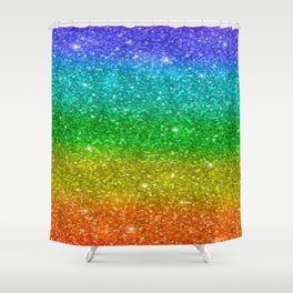 Glitter Rainbow Pride Flag Shower Curtain
