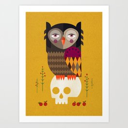 Owl with Skull Art Print