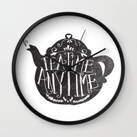 stark Wall Clocks featuring TEA TIME. ANY TIME. by Matthew Taylor Wilson