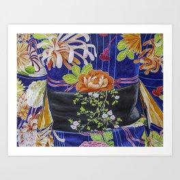 Kimono Flowers Art Print