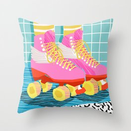 The Right Stuff - retro throwback 80s style rollerskates skating rink trendy 1980's Throw Pillow