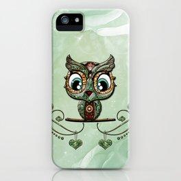 Cute little owl, green diamond iPhone Case