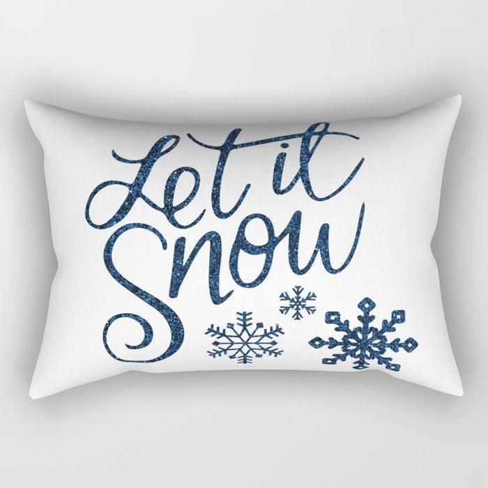 Let It Snow Blue Glitter Typography Winter Rectangular Pillow