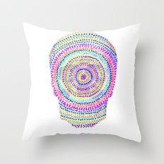 divisionism skull mandala Throw Pillow