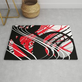 life silver white red black abstract geometric digital painting Rug