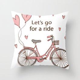 Cartoon Bike Throw Pillow