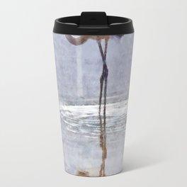 Flamingo Ripples and Reflections Watercolor Travel Mug