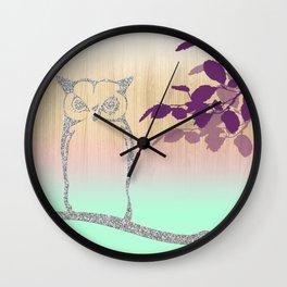 Silver Glitter Owl Tree & Wooden Background Wall Clock
