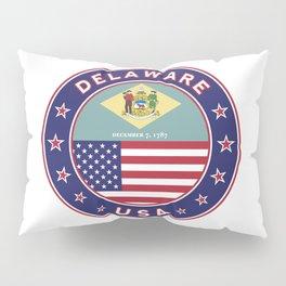 Delaware, Delaware t-shirt, Delaware sticker, circle, Delaware flag, white bg Pillow Sham