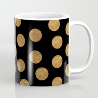 polkadot Mugs featuring GOLD POLKADOT 1 by wlydesign