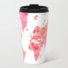 """Hot pink and orange watercolor world map """"Tatiana"""" Travel Mug"""