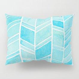 Watercolor Herringbone Blue Pattern Pillow Sham