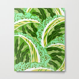 BALINESIA: GREEN SCENE, Art Deco Tropical Metal Print