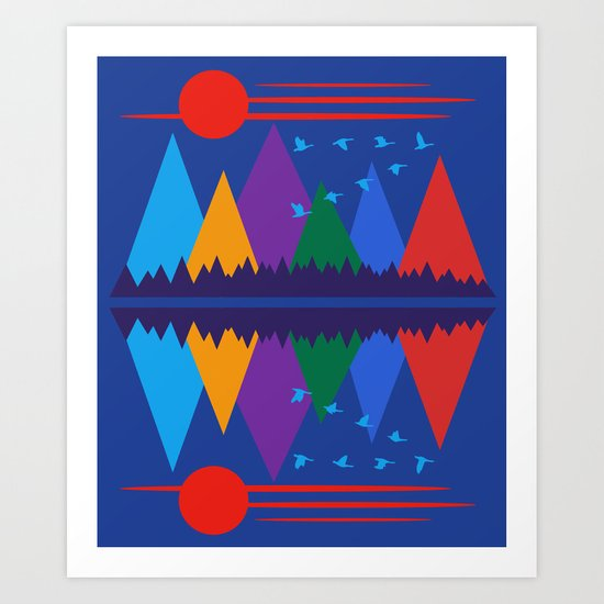Moon Over The Mountains #7 Art Print