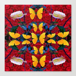 RED-WHITE ROSES & YELLOW BUTTERFLIES GARDEN Canvas Print