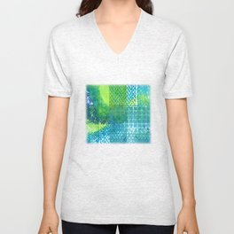 Industrial Blues and Greens Unisex V-Neck