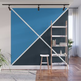 Envelope Geometric Shape Strong Blue with Navy Blue and White Wall Mural