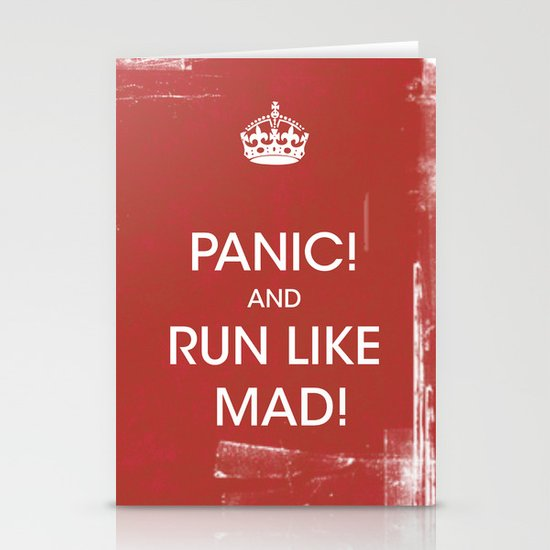 panic in red Stationery Cards