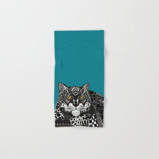 snow leopard teal Hand & Bath Towel