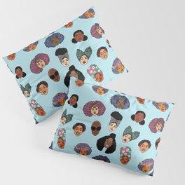 Black Hair Magic - Blue Pillow Sham
