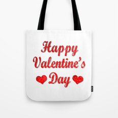 Happy Valentine's Day Red Hearts Tote Bag