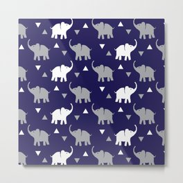Elephants & Triangles - Navy Blue / Gray / White Metal Print