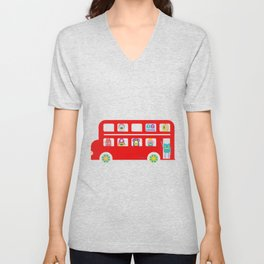 PINTMON_DOUBLE DECKER BUS Unisex V-Neck