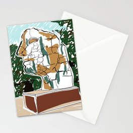 Sculpture of mans head drawing Stationery Cards