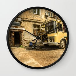 Old Yellow Bus House Wall Clock