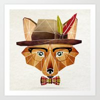 mr fox Art Prints featuring mr. fox by Manoou