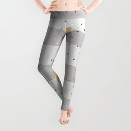 Gold Dragonfly Christmas seamless pattern and Gold Confetti on Grey Pastel and White Stripes Background Leggings