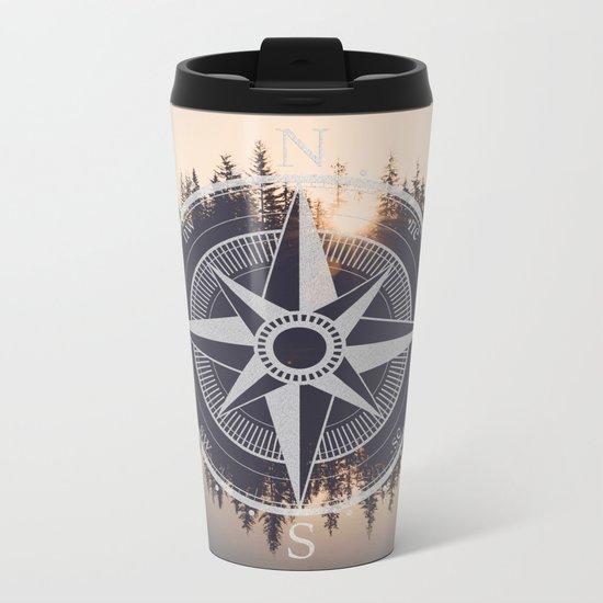 Wooded Lake Reflection Compass Metal Travel Mug