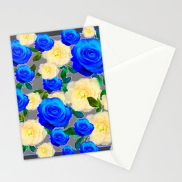 CHARCOAL GREY DECORATIVE WHITE & BLUE ROSE GARDEN Stationery Cards