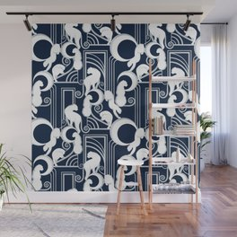 Deco Gatsby Panthers // navy and silver Wall Mural