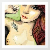 erotic Art Prints featuring Erotic Portrait by Mattew Draw