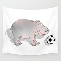 hippo Wall Tapestries featuring Hippo playing Football by mailboxdisco