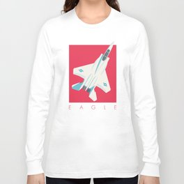 F15 Eagle Supersonic Fighter Jet Aircraft - Crimson Long Sleeve T-shirt
