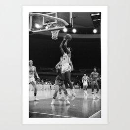 Barack Obama plays basketball for the Punahou School basketball team Art Print